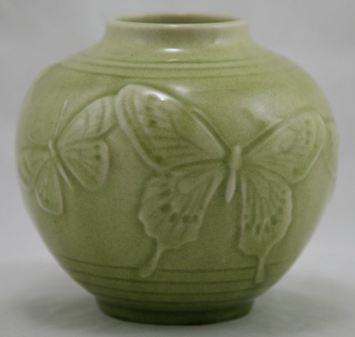 Rookwood Production Rose Bowl With Butterflies in Chartreuse Gloss Glazes d1956