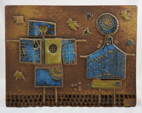 "Stig Lindberg 13.5"" The Scarecrow Wall Tile Scandinavian Mid-Century Modern"