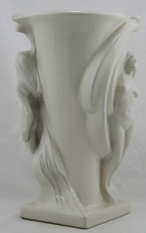 "Frankoma 11.5"" Double Nude Vase GS50 By Gerald Smith #390 in Ivory/White Glaze"