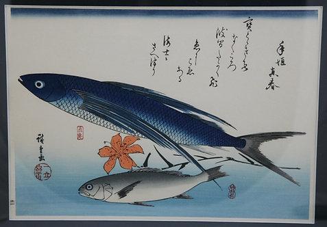 Utagawa (Ando) Hiroshige (1797-1858) 'Flying Fish, White Croaker and Lily'