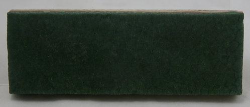 """Grueby Pottery Tile 2"""" x 6"""" In Matte Green Glaze Lotus Flower Mark"""