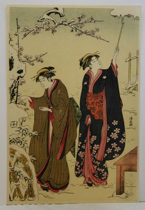 Torii Kiyonaga (1752-1815)  'Women in Snowy Garden'