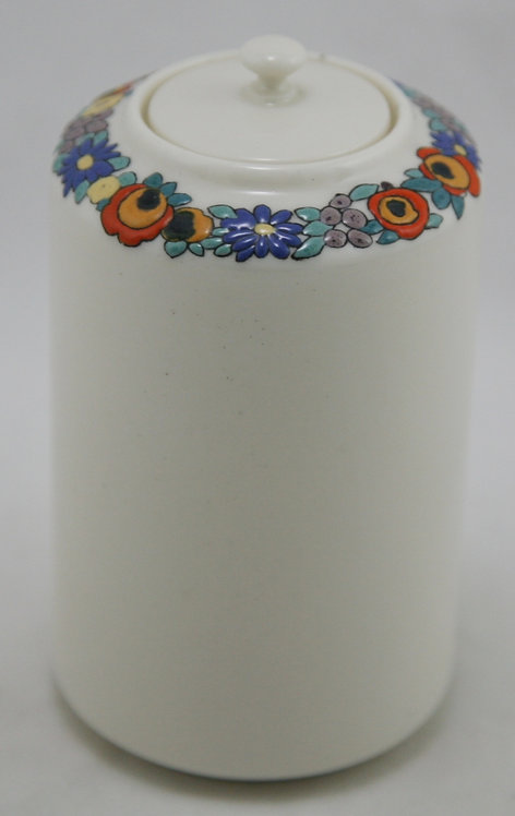 American Lenox Belleek Lidded Jar China-painted Blossom/Berries Garland Motif