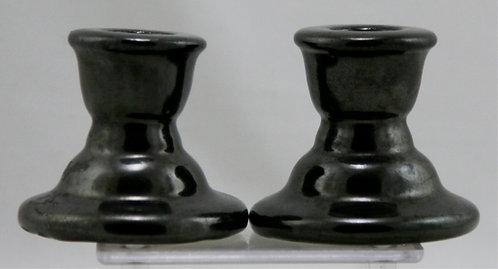 "Fulper 2.75"" Ribbed Candlestick Set in Rich Black Crystallized Glazes Mint F500"