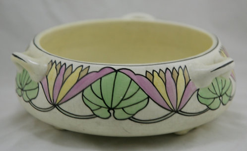 Roseville Ceramic Design 3-Handle Arts & Crafts Bulb Bowl with Waterlily Motif