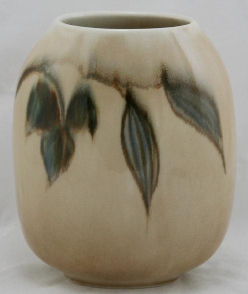 Francis Joseph Von Tury Porcelain Pillow Vase W/Leaves Binns' Medalist c1940s