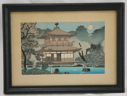 Koichi Okumura (1904-1974)  'Moon over Kinkakuji Temple'