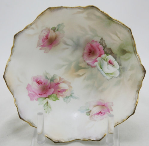 R.S. Prussia German Porcelain Gilt Decorated Roses 3-Footed Bowl
