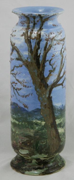Faience Earthenware Limoges-Style Vessel with a Tree/Meadow Scene c1880s