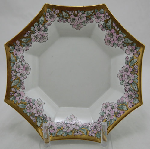 Limoges China-Painted Tray/Dish in A&C/Art Deco Apple Blossom/Gilt Decoration