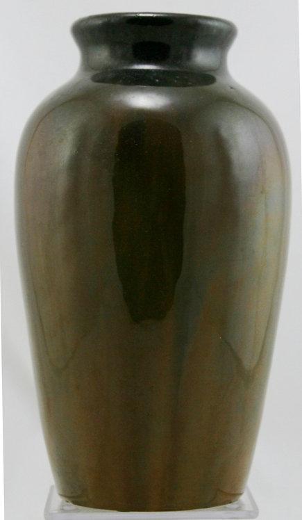 "Fulper 10"" Classic Vase in Deep Brown/Mahogany Flambe Glaze F284"