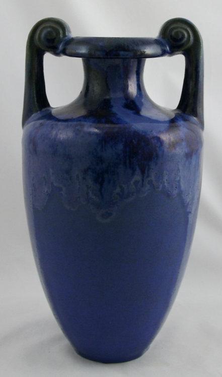 "Fulper 11"" Scroll Handle Grecian Vase #486 Cobalt/Charcoal Glazes c1917-27 F147"