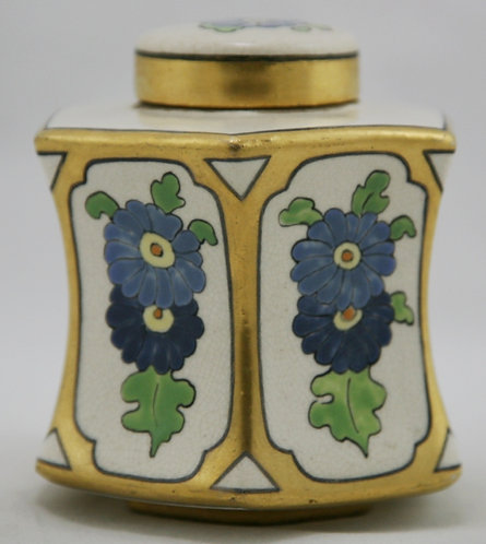 American Satsuma China-Painted Covered Jar in Arts &Crafts Gilded Decoration