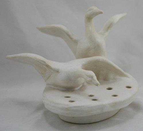 Weller Hobart Winged Geese Flower Frog In Matte Ivory/White Glaze