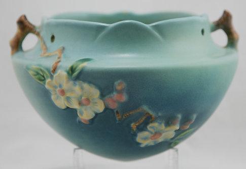 Roseville Apple Blossom Hanging Basket 361-5 Blue Blushed Glazes 125