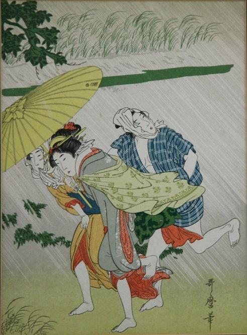 Kitagawa Utamaro (1750-1806) 'Sheltering from the Rain'