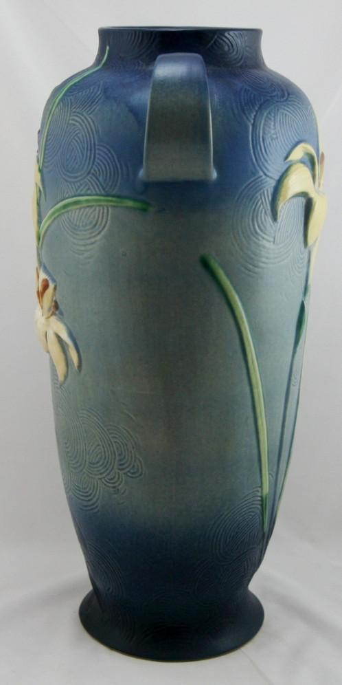 Roseville Zephyr Lily 1875 Floor Vase 142 18 In Vivid Bermuda Blue