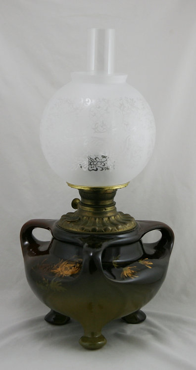 Weller Louwelsa Tri-Footed/Handled Original Oil Lamp With Crysanthemums