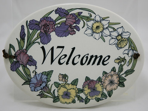 Santa Barbara Ceramic Design SBCD 'Welcome' Sign By Laurie Linn Ball 1992