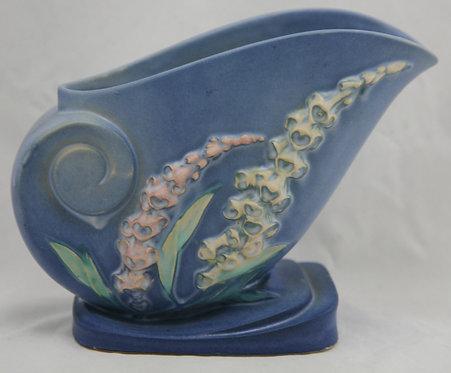 "Roseville Foxglove 6.75"" x 8.5"" Nautilus Shell Vase In Blue Blushed Glazes 166-6"
