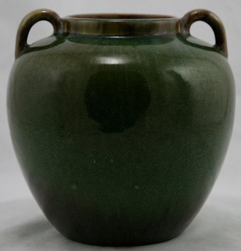 "Fulper 6.5"" Vase With Handles c1917-1923 In Green On Green/Plum Glazes"