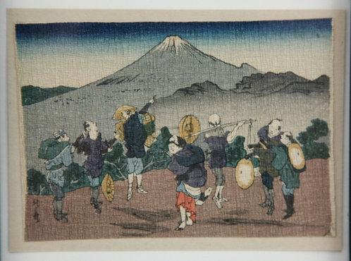 After Katsushika Hokusai (1760-1849) Enoshima Province Miniature Crepe Print