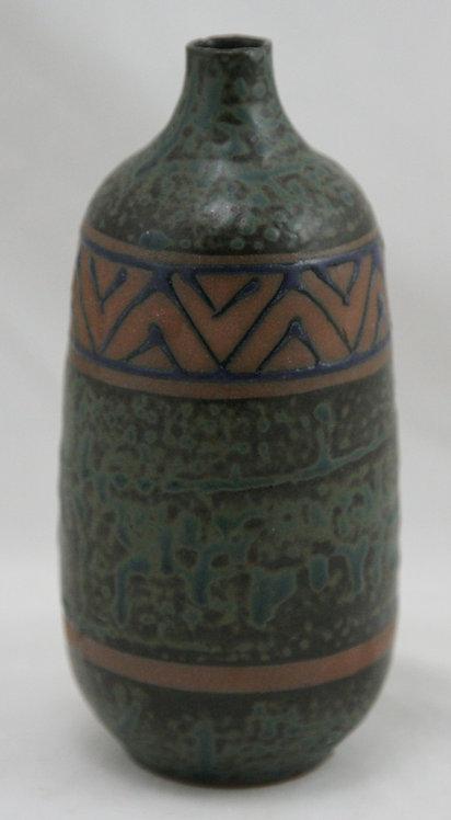 Mid-Century Modern Japanese Decorated Vase Broad Black ZigZag Band c1950s