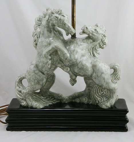 $OLD! TY! Royal Hickman Fighting Horses Original Lamp Oyster/Gray Mottled Glazes