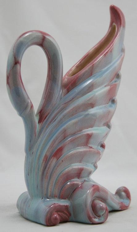 "Royal Haeger Early Mauve Agate 9"" x 6"" Swan Pillow Vase Gorgeous Glazes"