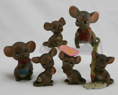 Josef Originals Teensy Mouse Village Figurals (6) in Miniature