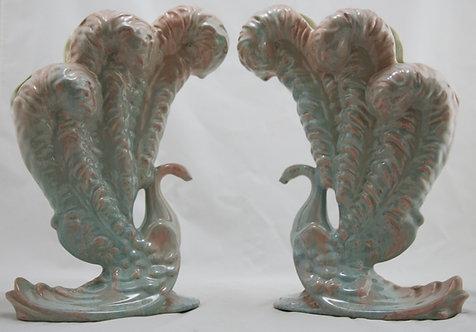"Royal Haeger Early Mauve Agate 12.5"" x 8.5"" Peacock Vase Set Gorgeous Glazes"