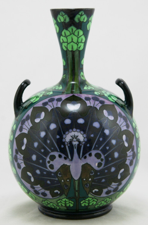 Wedgwood Lindsay Ware Vivid 9 Two Handled Vase With Peacocks
