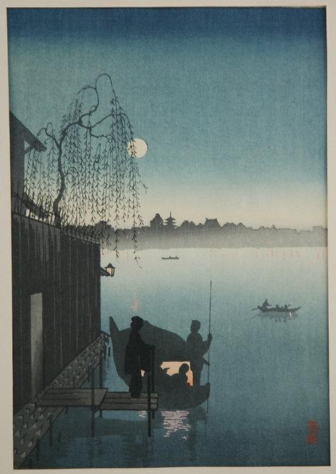 Eijiro Kobayashi (1870-1946) 'Evening on the Sumida River' Night Scene Series