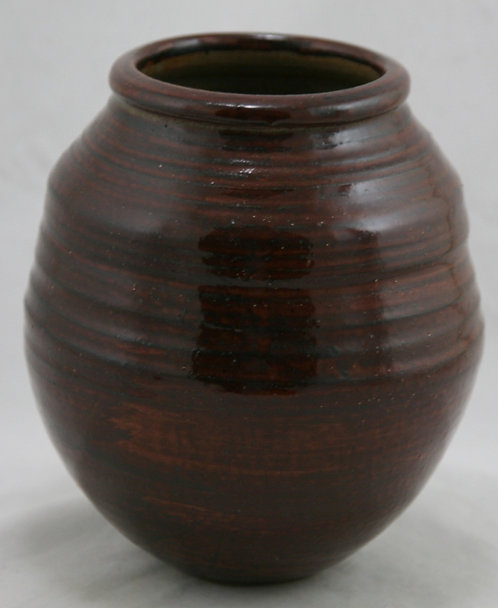 Marvin Bailey Southern Art Pottery Hand-turned Ribbed Vessel in Brown Glaze