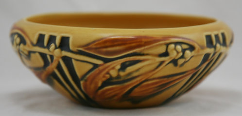 """$OLD! Roseville Laurel 6.5"""" Bulb Bowl In Yellow Black Accents Shape #251-6.5"""