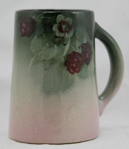 "Weller Eocean 6"" Mug W/Raspberries/Blossoms/Leaves In Charcoal/Pink Glazes Mint"