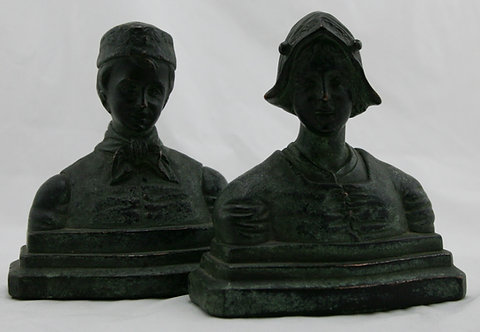 Armor Bronze 'Youngsters' Dutch Children Bookends c1924
