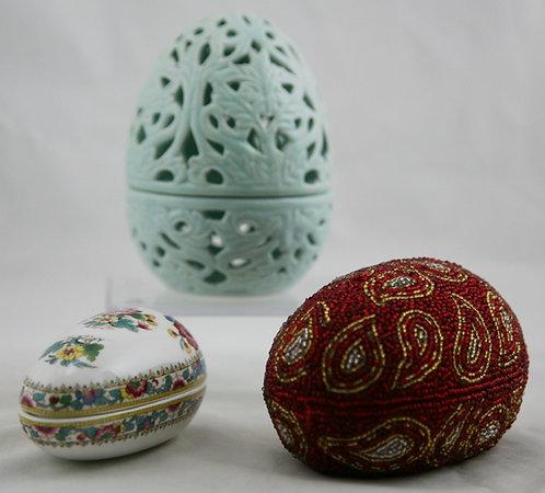 Egg Trinket Boxes: Reticulated Egg, Coalport Ming Rose, Christmas Corner Beaded