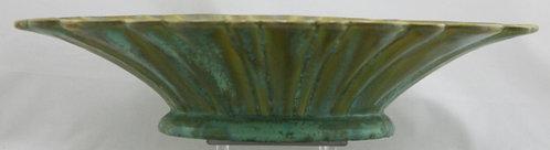 "Fulper 3.5"" x 16"" Fluted Bowl In Green Crystalline Glazes c1917-34 Mint  F489"