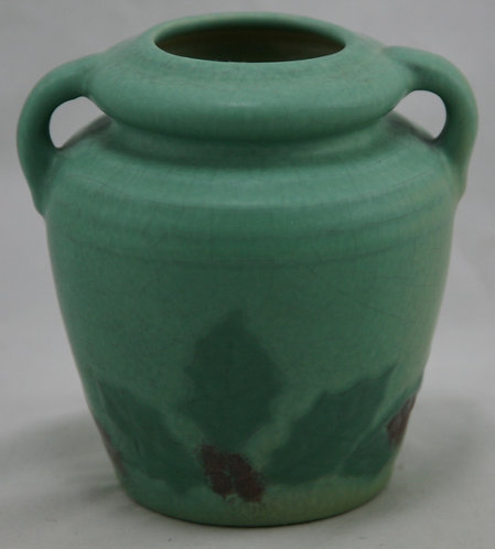 "Weller Fru Russet 5"" Arts & Crafts Vase Holly Leaves & Berries Soft Green Glaze"