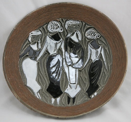 Fratelli Fanciullacci for Raymor Italian Modern Carved Bowl W/Frieze Of Women