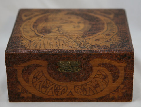 Flemish Art Co. NY Pyrography Box with a Native American Indian Maiden c1905