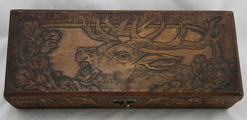 Flemish Art Co. NY Pyrography Wooden Box with Deer/Buck Motif c1900