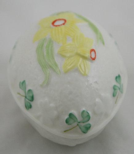 Belleek Ireland Egg Trinket Box with Daffodil and Clovers