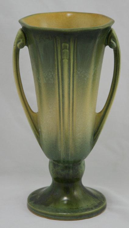 Roseville Russco Handled Vase In Fabulous Crystalline Green/Yellow Glazes