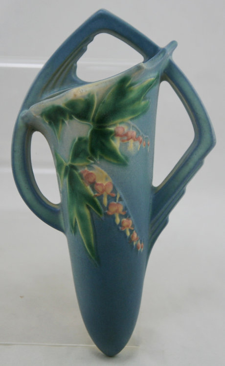 Roseville Bleeding Heart Wallpocket In Stunning Blue Blushed Glaze 1287-8
