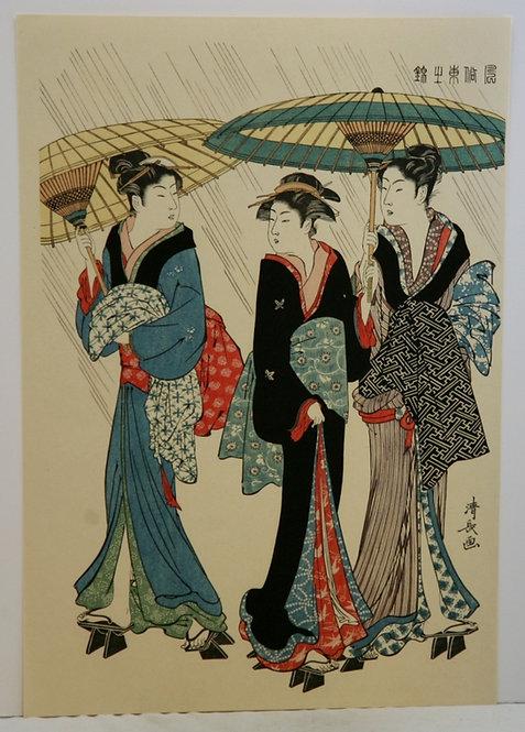 Torii Kiyonaga (1752-1815) 'Three Women Holding Umbrellas Strolling in Rain'