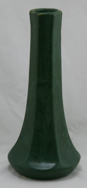 "Zanesville Stoneware Co. Arts & Crafts 11.5"" Hexagonal Vase in Rich Matte Green"