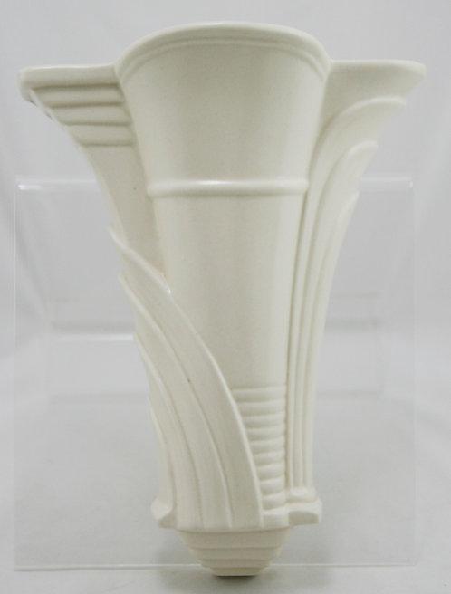 """Burleigh England 10.5"""" Art Deco Wallpocket In Gorgeous Ivory/White Glaze"""
