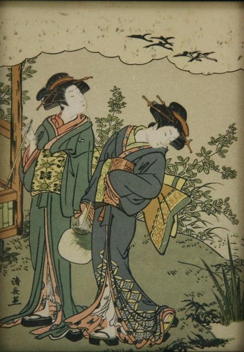 $OLD! TY! Torii Kiyonaga (1752-1815)  'Two Geishas Strolling'